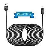 Opluz Câble Chargeur Nylon Tressé Câble vers USB Extra Long câble USB 5m/16ft Cable Compatibilité Phone X/8/8 plus/7/7 plus/6s/6s plus/6/6 plus/SE/5c/5s/5, Pad, Pad