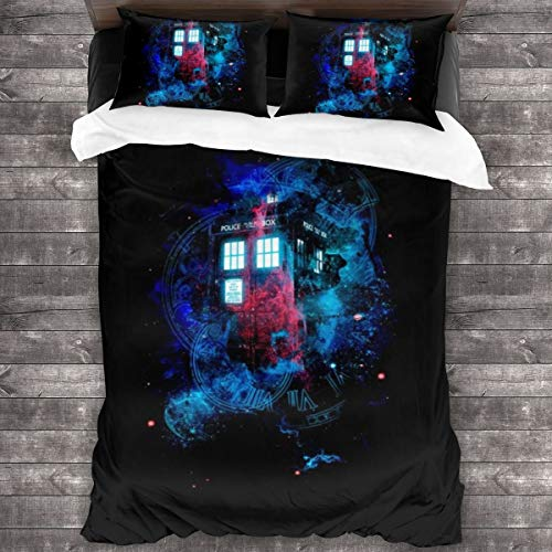 KUKHKU Time And Space Mist Tardis Doctor Who 3 Pieces Bedding Set Duvet Cover 86'x70', Decorative 3 Piece Bedding Set With 2 Pillow Shams