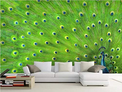 Papel Tapiz Fotográfico 3D Pavo real animal verde Moderna Fotomurales Decoración De Pared Sala Cuarto Oficina Salón 450 cm x300 cm