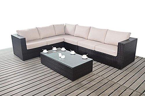 Moderno Grande Jardín rinconera, 3modular 2plazas sofás con mesa de café con tapa de cristal, gruesa cojines de asiento, conjuntos de muebles de jardín