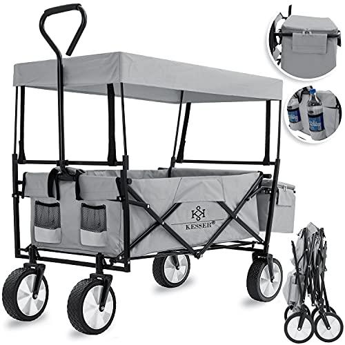 KESSER® Bollerwagen faltbar mit Dach Handwagen Transportkarre Gerätewagen   inkl. 2 Netztaschen und Einer Außentasche   klappbar   Vollgummi-Reifen   bis 100 kg Tragkraft Gray