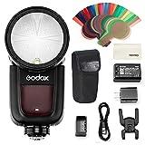 Godox V1-P カメラフラッシュ 丸型ヘッド設計 GODOX 2.4GHz TTL 磁気アクセサリポート リチウムイオン電池 ペンタックスカメラ用