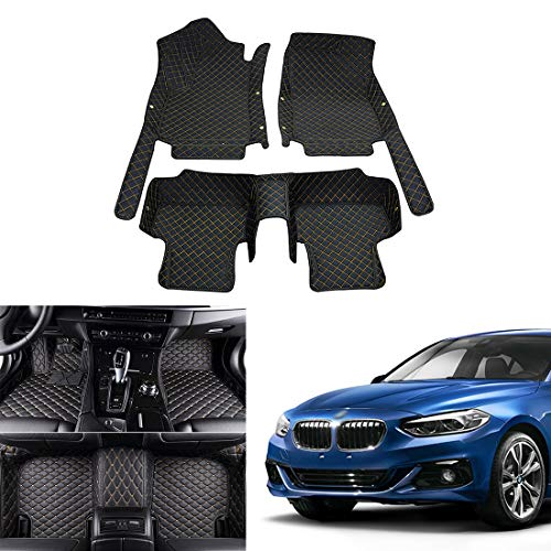OREALTECH Tapis De Sol De Voiture pour BMW 1 Series E87 F20 F21 E88 E82 2012-2018 Tout Temps Tapis Auto en Cuir XPE Couverture Entière 3D Antidérapant Avant Arrière