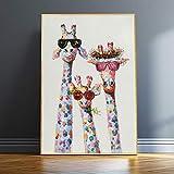 Wenqike Familia de Jirafas Coloridas con Gafas Lienzo Arte de Pared Pintura decoración de Pared póster e Impresiones Imagen de Animal Divertido 40x50cm