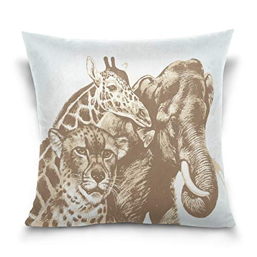 N\A Double Sided We are Family Cheetah Giraffe Elephant Cotton Velvet Square Cover Cushion Covers Pillow Slip Covers Decorative
