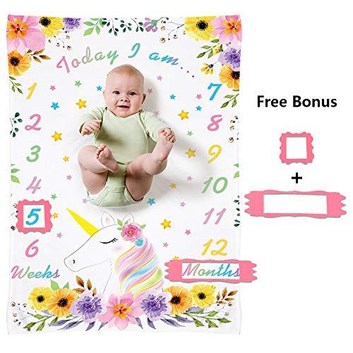 WERNNSAI Bebé Unicornio Manta Milestone para Chicas - 150 x 100 Cm Mantas Milestone Mensuales para Recién Nacidos Fondo Floral de La Fotografía Manta de La Cama de Franelat