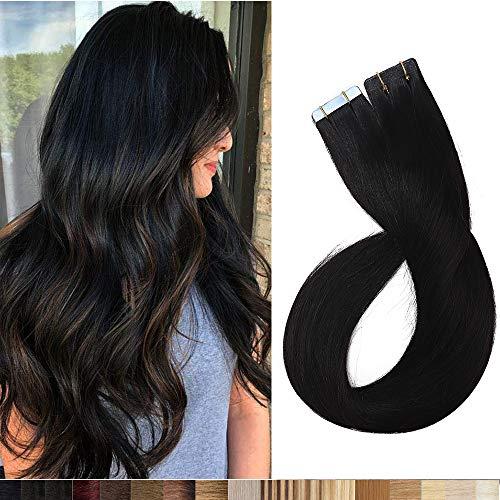 Silk-co Extension Capelli Veri Biadesivo 20 Fasce 100% Remy Human Hair 40cm #1 Nero Lucente 30g Set