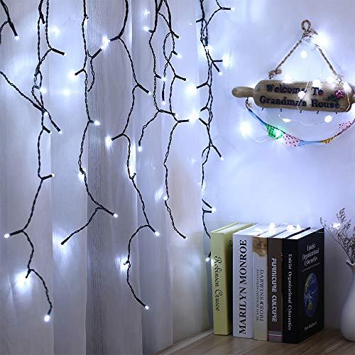 VegaHome 240er LED Eisregen Lichterkette Eiszapfen Außen Lichtervorhang Weihnachten Lichter Grüne Kabel Innen Deko für Xmas Garten Party Hochzeit Strombetrieben mit Stecker, Kaltweiß[Energieklasse A+]