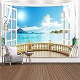 Vista de la ventana tapiz junto al mar playa cascada colgante de pared dormitorio fondo tela artista decoración del hogar tela colgante A14 73x95cm