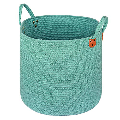 """Zerohub XXXLarge 20"""" x 18"""" Cotton Rope Basket, Storage Baskets with Handles for Toys, Throws, Pillows, and Towels, Decorative Blanket Basket for Living Room and Laundry, Green"""