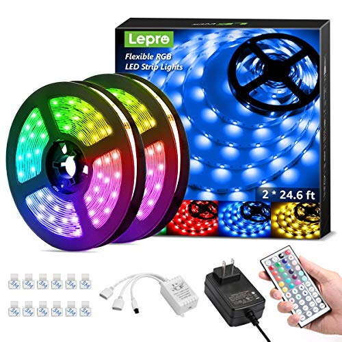 Lepro LED Strip Lights Kit, 50ft Ultra-Long RGB LED Light Strips, Dimmable Color Changing Light Strip with Remote Control, 450 Leds 12V Led Tape Light for Kitchen, Bedroom and More, Non-Waterproof (24.6ft*2)