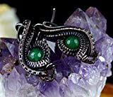 Evil Eye, copper wire earrings with green agate beads, gift for her, gift for mom, perfect present, Nicole Hanna designed, wire wrapped