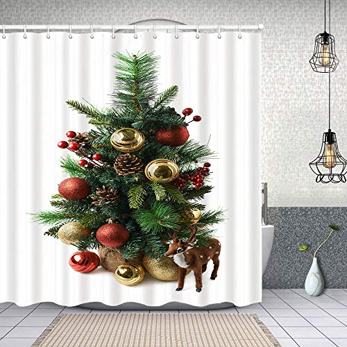 Fabric Shower Curtains tiny christmas tree composition isolated waterproofBathCurtainswith Hook 72x72 inch