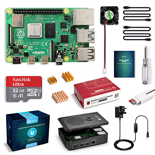 LABISTS Raspberry Pi 4 B Model B 4GB Starter Kit Motherboard 32GB SD Card Preloaded with Raspbian, Cooling Fan, 5.1V 3A Type C On/off UK Edition Power Supply, Micro HDMI to HDMI Cable, Black Case