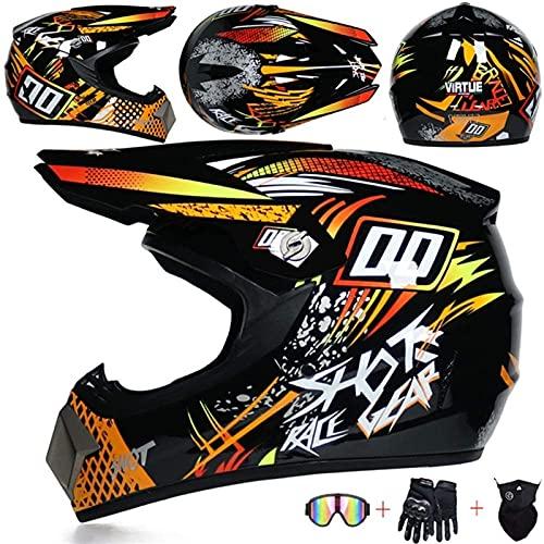 XIAOTIAN Motocross Helmet,Full Face Helmet with Goggles Gloves Mask Crash Helmet Unisex used for Motorbike Helmet Mountain Bike Helmet. (Color : Yellow, Size : XL)