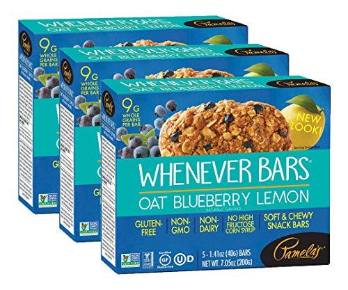 Pamela's Products, Whenever Bars, Gluten-Free, Oat Blueberry Lemon, 5 Bars, 1.41 oz (40 g) Each(pack of 3)