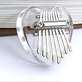 Kalimba - Piano de pulgar de 8 teclas, mini instrumentos musicales transparentes en forma de corazón Kalimba, piano de dedo portátil Mbira Sanza, regalo para niños