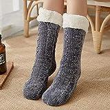 Zapatillas Casa Hombre Mujer Calcetines Navideños para Mujer Calcetines De Algodón De Invierno Calcetines Antideslizantes Más Gruesos Sólidos Calcetines De Alfombra Calcetines 38 Gris