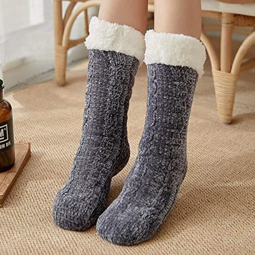 Zapatillas Casa Hombre Mujer Calcetines De Navidad para Mujer Calcetines De Algodón De Invierno Calcetines Antideslizantes Más Gruesos Sólidos Calcetines De Alfombra Calcetines 39 Gris
