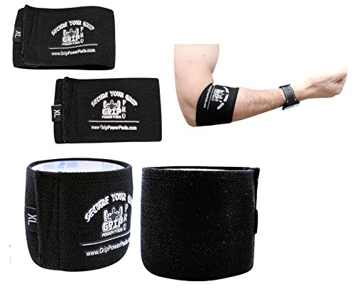 """Grip Power Pads Elbow Compression Sleeve (2 Count) Golf Elbow Brace Weightlifting Sleeve Tennis Strap Arthritis (Black, 2X-Large 12""""-12.75"""")"""