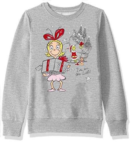 Dr. Seuss Girls' Ugly Christmas Crew Sweatshirt, Cindy/Light Heather Grey, X-Large (14/16)