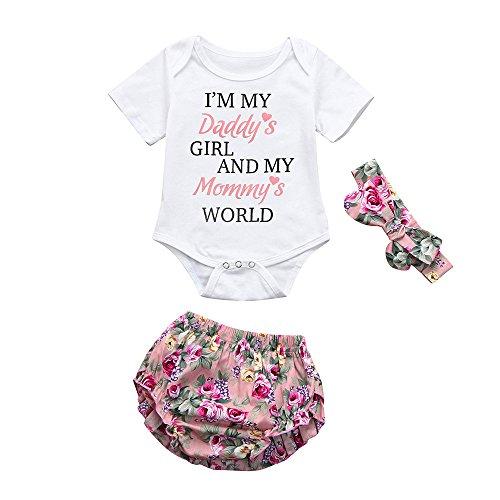 Pasgeboren baby trainingspak kleding Set Baby Meisjes Letter Gedrukt Romper Floral Shorts Broek Outfits Set Hot Peuter Kids Leuke Zachte Kleding Set pyjama Sets Mooie Gift voor 0-18 Maanden