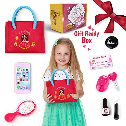 CEER'S Pretend Play My First Purse - Best Girl Gift for Ages 2 to 5 Years- Fun Little Girl Cosmetic Toys Set with Pretend Makeup, Cell Phone, Lipstick, Hair Brush & Keys