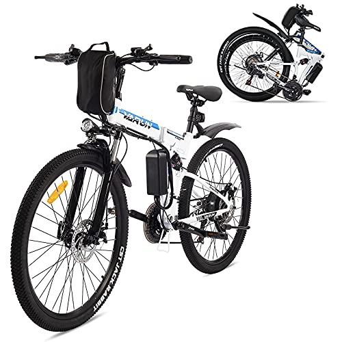 VARUN Faltbares E Bike 26 Zoll Damen und Herren, Elektrofahrrad Klapprad Mountainbike mit 250W Motor 36V 8AH SchnellLade Akku, Shimano 21-Gänge Electric Bike für Erwachsene (Weiß)