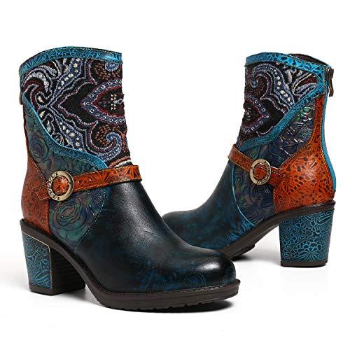 Camfosy Leren laarzen voor dames, met hak, kleurrijke korte laarzen, mooie bedrukte stof, warme voering, elegante gezellige Chunky Zipper mode laarzen herfst winter