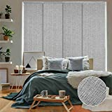 GoDear Design Deluxe 99.99% Blackout Adjustable Sliding Panel Track Blind 45.8'- 86' W x 96' H, Extendable 4-Rail Track, Metallic Luster Trimmable Pleated Natural Woven Fabric, Munich Castle +