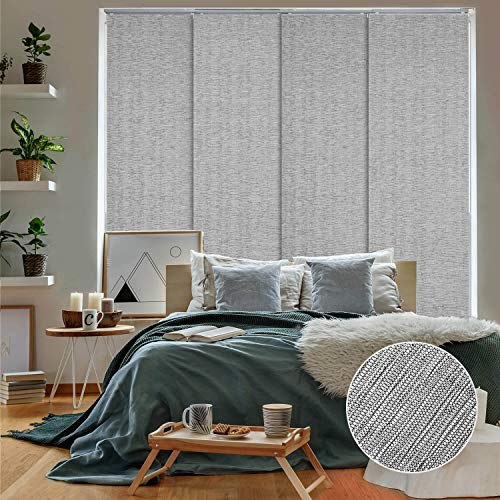 """GoDear Design Deluxe 99.99% Blackout Adjustable Sliding Panel Track Blind 45.8""""- 86"""" W x 96"""" H, Extendable 4-Rail Track, Metallic Luster Trimmable Pleated Natural Woven Fabric, Munich Castle +"""