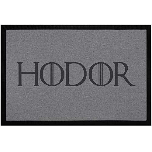 MoonWorks® Fußmatte mit Spruch Hodor Hold The Door Fantasyserie Willkommen-Matte rutschfest & waschbar schwarz 60x40cm