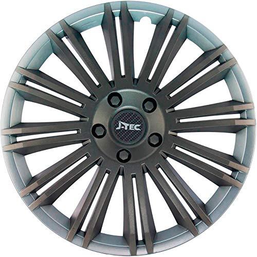 J-Tec J14544 Discovery R Lot de 4 enjoliveurs, argent/gris, 14\