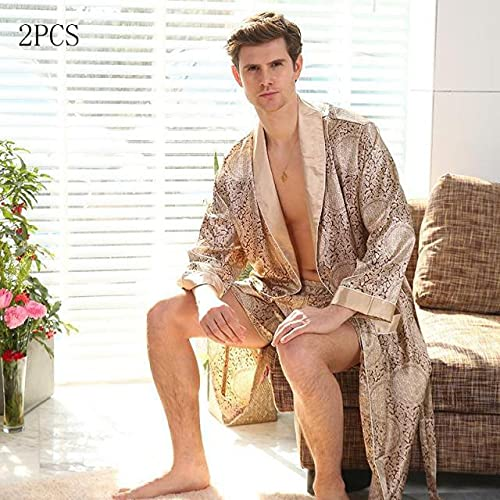 Camisón de satén para Hombre, 2 uds, Bata, Pantalones Cortos, Traje de Kimono, Ropa de Dormir, Bata Informal de Verano para el hogar, Talla Grande 3XL 4XL 5XL-Gold A-2-5XL