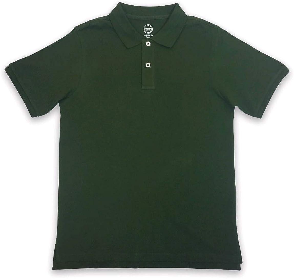 Boys Wonder Nation Short Sleeve Polo Shirt, Olive Green (2X-Large, 18)