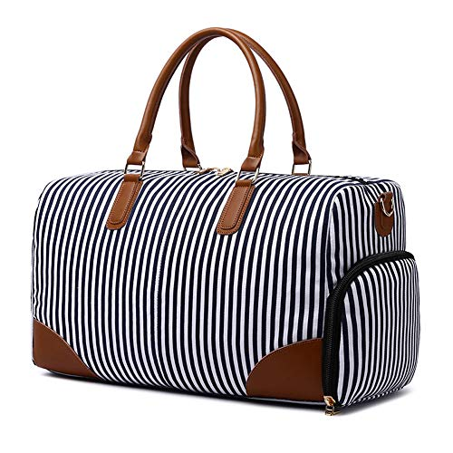 Large Weekend Travel Bag Women, ZYSY Holdall Luggage Overnight Carry-on Shoulder Duffle Canvas Tote Bags with Shoe Compartment for Ladies fit 15 Inch Tablet Notebook