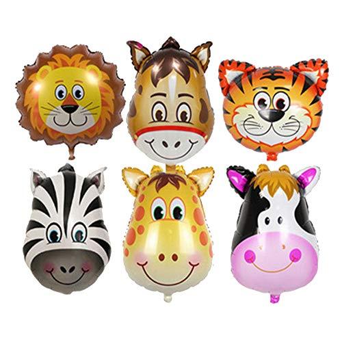 Vientiane Tier Folienballon,6 Stück Party Tier Inflated Ballon für Kinder Geburtstag Party Dekoration (Animal Head)