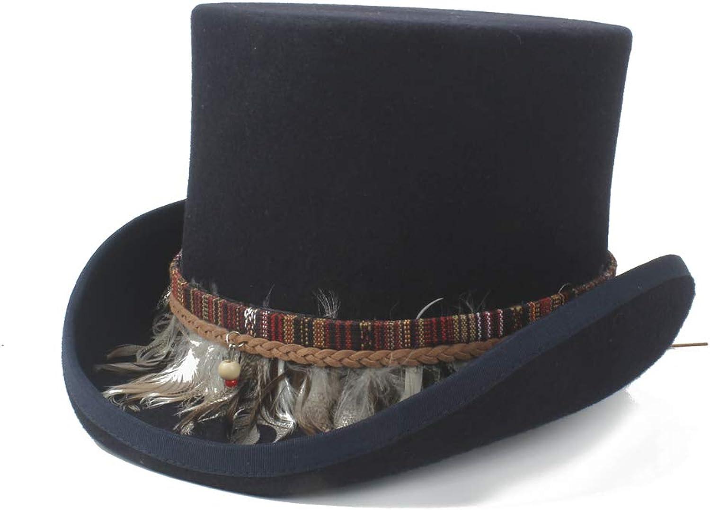 Fashion Hats, Caps Steampunk Top Hat 100% Wool Women Men Crazy Hat color Braided Feather Tassel Gentleman Hat Traditional Flat by Original Design Elegant Hats, Natural Caps