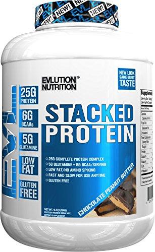 Evlution Nutrition Stacked Protein Proteína en Polvo con 25 Gramos de Proteínas, 5 Gramos de BCAA y 5 Gramos de Glutamina (Chocolate Peanut Butter, 1,82 kg)