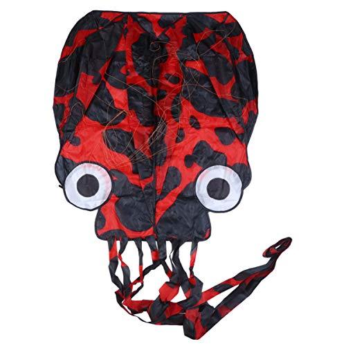 LIOOBO red Soft Frameless Octopus Drachen Easy Flyer Drachen Kids Long Tail Drachen gutes Spielzeug ohne flugleine für Beach Park Garden Spielplatz - rot