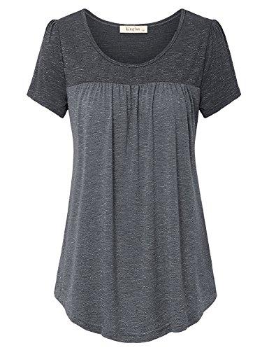 Lingfon Women's Short Sleeve Pleated Front Stitching Tunic Shirt Top(L,Black)