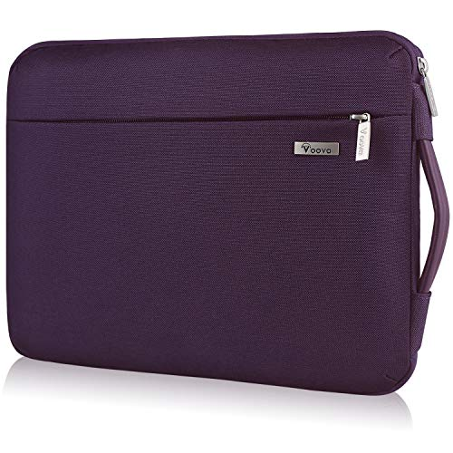 Voova Laptop Sleeve Case 14 15 15.6 Inch,Upgrade 360°Protective Computer Carrying Cover Bag Compatible with Macbook Pro 15 16, Surface Book 3/2,Hp Acer Asus Chromebook with Organizer,Waterproof-Purple