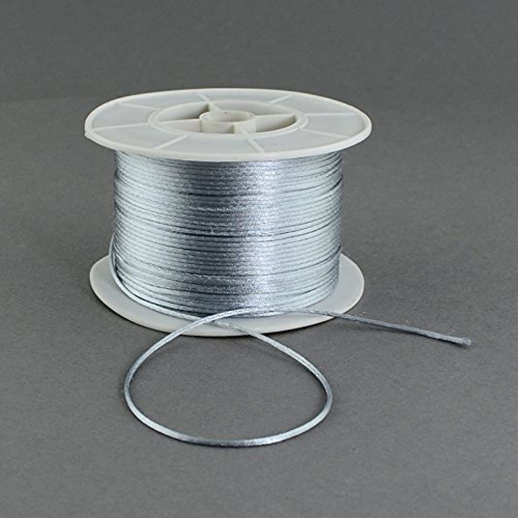 PEPPERLONELY 100 Yard/Roll 1mm Chinese Knotting Nylon Tattail Beading Thread String Cord, Silver Grey