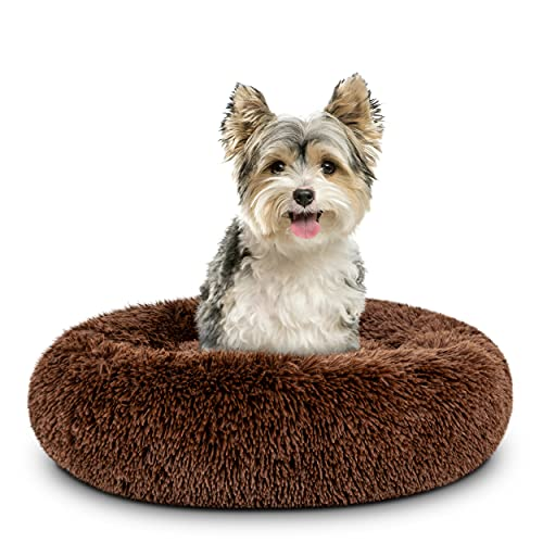 The Dog's Bed Sound Sleep Donut Dog Bed, Small Chocolate Brown Plush Removable Cover Calming Nest Bed