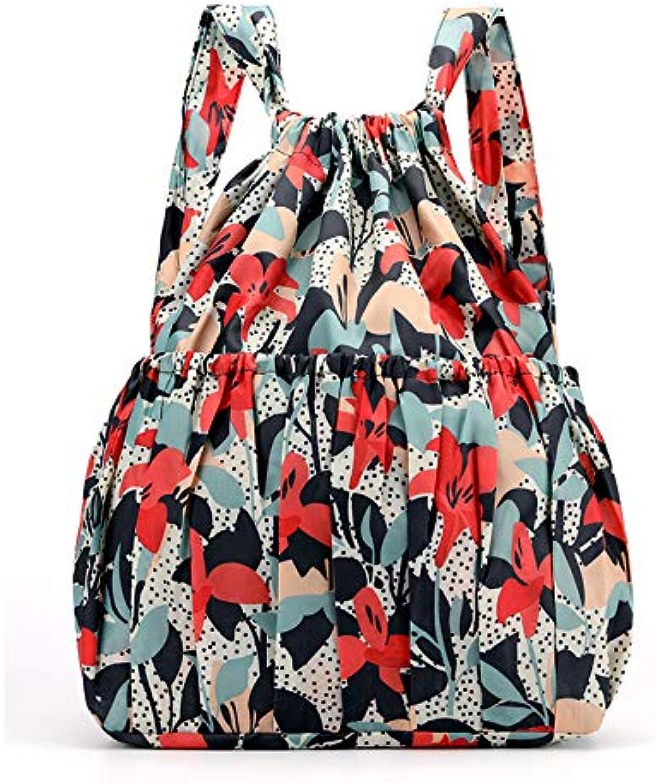 Backpack Drawstring Backpack Printed Nylon Fabric Bag Large Capacity Bag Fitness Dance Bag