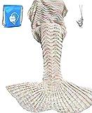 "LAGHCAT Mermaid Tail Blanket Knit Crochet Mermaid Blanket for Adult, Oversized Sleeping Blanket, Wave Pattern (75""x35.5"",Beige)"