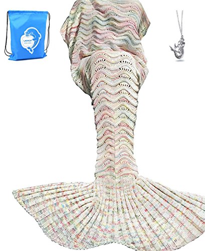 "LAGHCAT Mermaid Tail Blanket Knit Crochet Mermaid Blanket for Adult, Oversized Sleeping Blanket, Wave Pattern (75""x35.5"",Beige)"