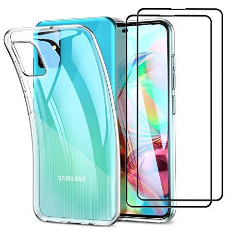 UCMDA Funda para Samsung Galaxy A71 - Protector de Pantalla, Fundas Transparente Silicona TPU Carcasa para Samsung Galaxy A71 con Cristal Templado (Transparente)
