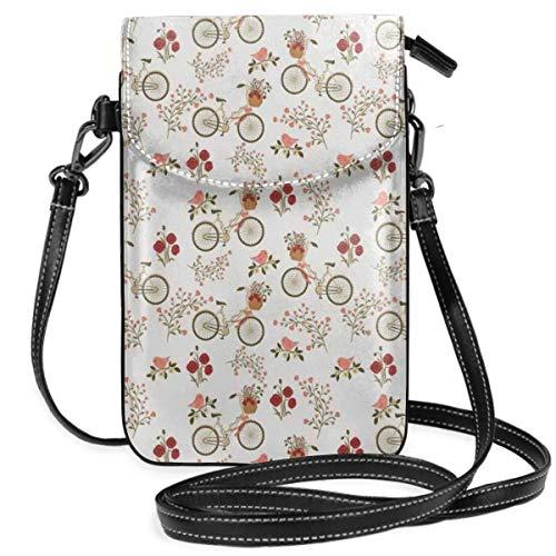 Women Small Cell Phone Purse Crossbody,Nostalgic Romance With Bikes Baskets Full Of...