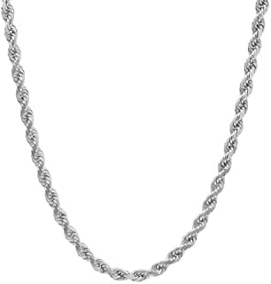 Unisex Sterling Silver 3.5MM Diamond-Cut Rope Chain Necklace